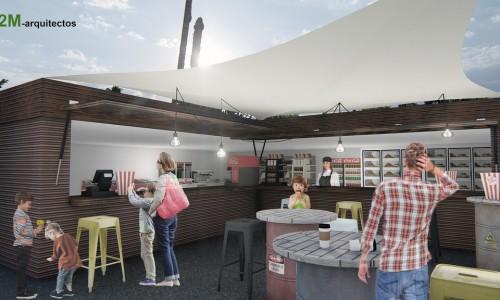 Anteproyecto de quiosco de comida en Parque Warner de Madrid.