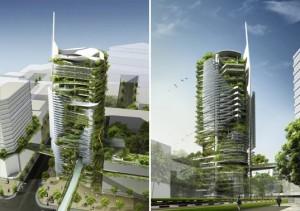 La arquitectura verde de este edificio permite que sea eficiente energéticamente.